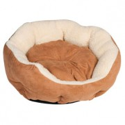 BASKET ROUND BROWN SUEDE 45X40X14CM